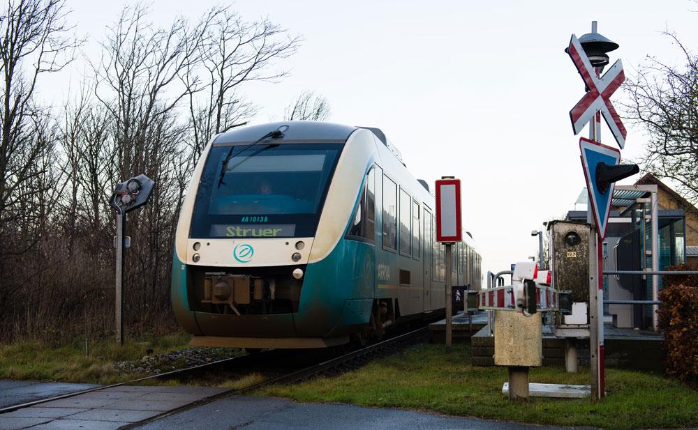 Togstrækningen mellem Thisted og Struer går igennem Hørdum
